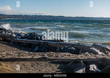 The sea rolls onto a shore littered with rocks.. - Stock Photo