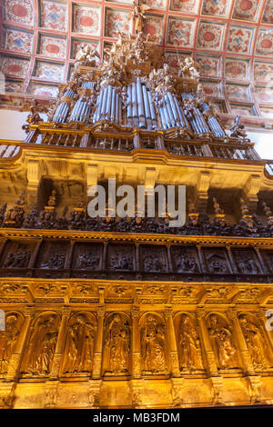 Organ in the choir of the church in Museo e Iglesia de San Martín Pinario, Santiago de Compostela, Galicia, Spain - Stock Photo