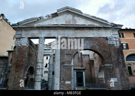 ancient Roman Portico di Ottavia and the Sant Angelo ialla Pescheria church, Rome, Italy - Stock Photo