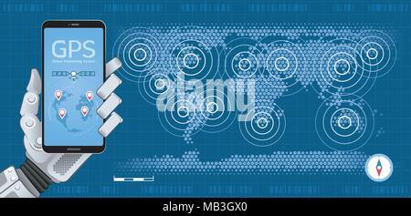 Mobile GPS Tracker - Stock Photo