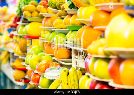 Fruits and vegetables background. Sucre traditional market, Bolivia. - Stock Photo