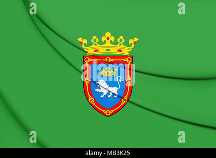 3D Flag of Pamplona (Navarre), Spain. 3D Illustration. - Stock Photo