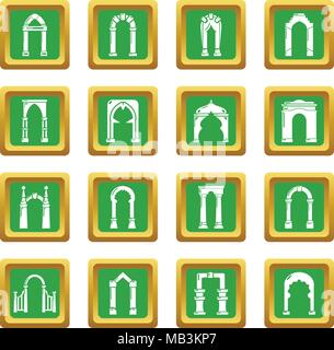 Arch types icons set green square vector - Stock Photo