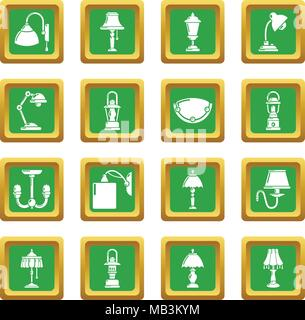 Lamp icons set green square vector - Stock Photo