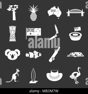 Australia travel icons set grey vector - Stock Photo