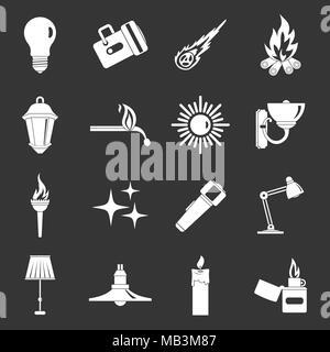 Light source symbols icons set grey vector - Stock Photo