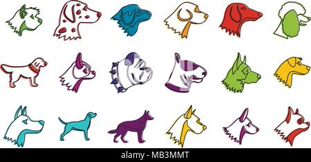 Dogs icon set, color outline style - Stock Photo