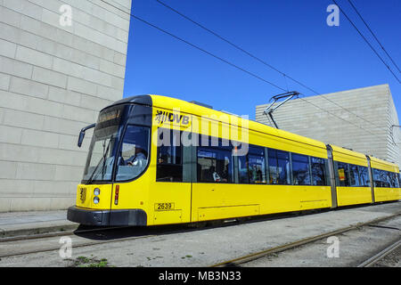 Tram at New Synagogue, Dresden, Saxony, Germany, Europe - Stock Photo
