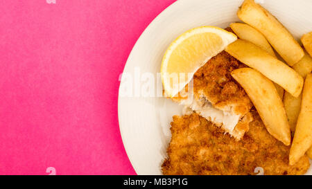 Traditional Popular Fish And Chips Against A Pink Backgound - Stock Photo