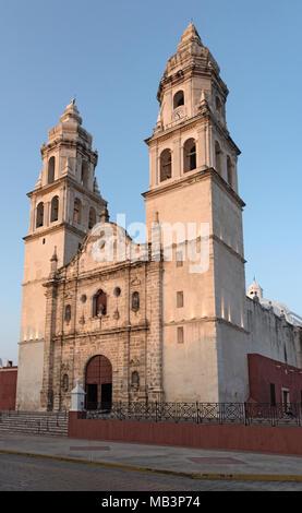 the cathedral san francisco de campeche, yucatan, mexico - Stock Photo