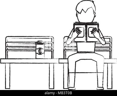 sketch of avatar man with a book and coffee drink sitting on a bench over white background, vector illustration - Stock Photo