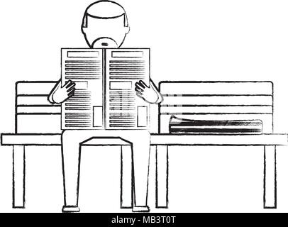 sketch of old man sitting reading a newspaper on a bench over white background, vector illustration - Stock Photo