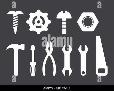 Manual tools and instruments set, white isolated icons on dark bacground - Stock Photo