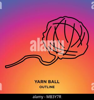 yarn ball outline on purple background - Stock Photo