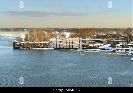 Helsinki archipelago in early spring. Morning - Stock Photo
