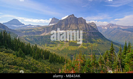 Colorful Peaks from an Alpine View in Glacier National Park in Montana - Stock Photo