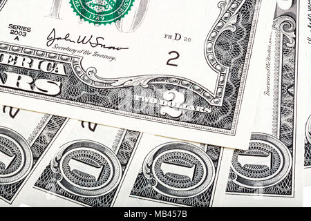 Interesting abstract composition from American money, one end tw - Stock Photo