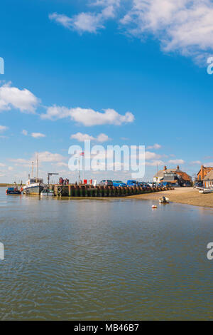 Orford quay Suffolk, view of the quay on the banks of the River Alde in the Suffolk town of Orford, East Anglia, UK - Stock Photo