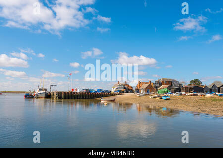 Orford Suffolk quay, view of the quay on the banks of the River Alde in the Suffolk town of Orford, East Anglia, UK - Stock Photo