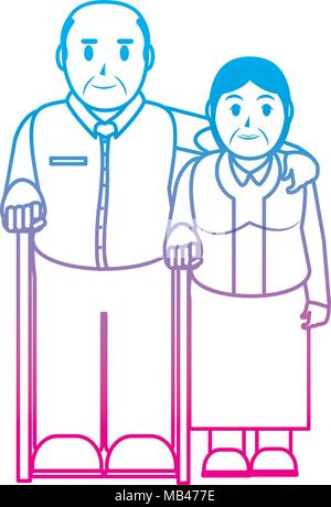 degraded line elderly couple together with walking stick - Stock Photo