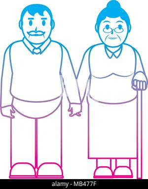 degraded line old couple together with casual clothes - Stock Photo