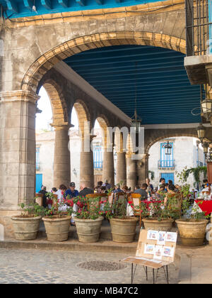 HAVANA, CUBA - JANUARY 16, 2017: Tourists at the Cathedral Square on a beautiful day. Old Havana, Cuba. In this square is the cathedral, the Colonial  - Stock Photo
