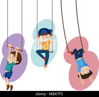 Three kids on hand swings illustration - Stock Photo