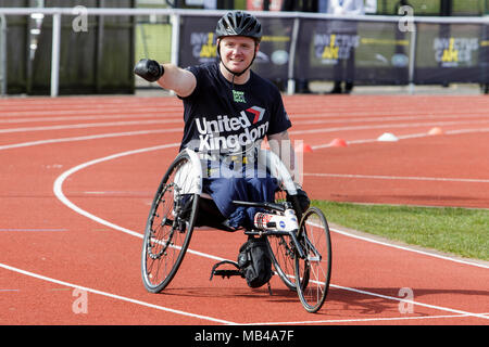 Bath, UK. 6th April, 2018. A competitor is pictured at the University of Bath Sports Training Village as he takes part in the UK team trials for the 2018 Invictus Games.The games are a sporting event for injured active duty and veteran service members, 500 competitors from 18 nations will compete in 11 adaptive sports in this year's Invictus Games which will be held in Sydney, Australia in October 2018. Credit: lynchpics/Alamy Live News - Stock Photo