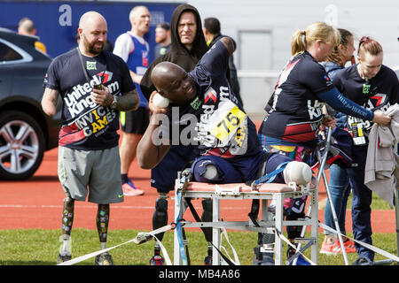 Bath, UK. 6th April, 2018. An athlete is pictured at the University of Bath Sports Training Village as he takes part in the UK team trials for the 2018 Invictus Games.The games are a sporting event for injured active duty and veteran service members, 500 competitors from 18 nations will compete in 11 adaptive sports in this year's Invictus Games which will be held in Sydney, Australia in October 2018. Credit: lynchpics/Alamy Live News - Stock Photo