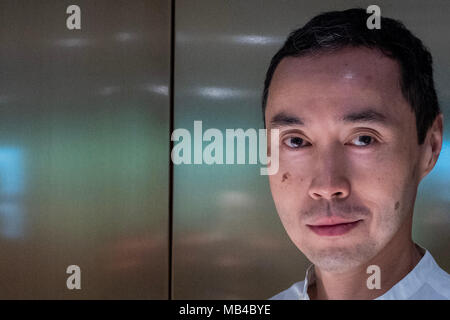 Venice, ITALY. 6 April, 2018. Malaysian writer Tash Aw attends a photocall during Incroci di Civiltˆ International Literature Festival on April 6, 2018 in Venice, Italy.© Stefano Mazzola/Awakening/Alamy Live News - Stock Photo