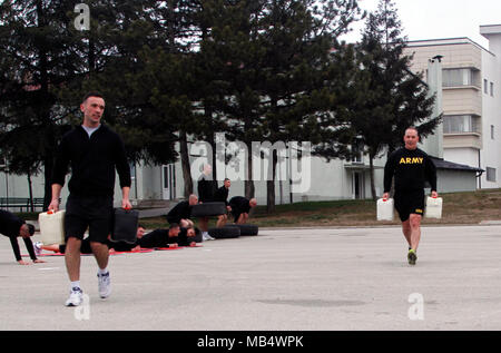 Maj. Gen. Tim Orr, Adjutant General of the Iowa National Guard, joins Kosovo Security Force cadets for a morning workout before the Kosovo Independence Day Parade in Pristina, Kosovo, on Feb. 18. The Iowa National Guard and Kosovo Security Force have enjoyed a strong and dynamic partnership founded on mutual respect and admiration with a common interest in facilitating stability within Eastern Europe since 2011. - Stock Photo