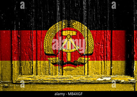 flag of East Germany painted on wooden frame - Stock Photo