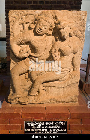 Vertical view of the Isurumuni Lovers stone carving in Anuradhapura, Sri Lanka. - Stock Photo