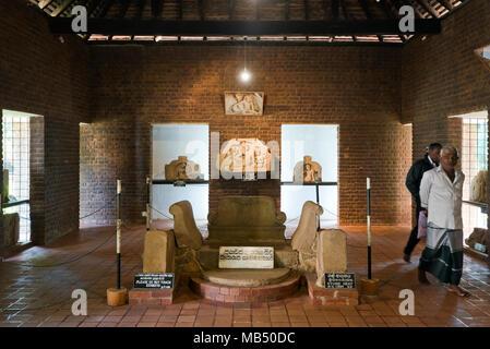 Horizontal view of ancient exhibits in Isurumuniya Viharaya museum in Anuradhapura, Sri Lanka. - Stock Photo