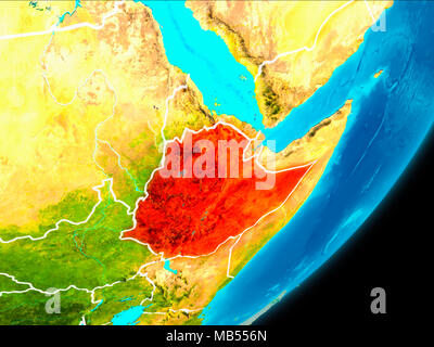 Map of Ethiopia in red as seen from space on planet Earth with white borderlines. 3D illustration. Elements of this image furnished by NASA. - Stock Photo