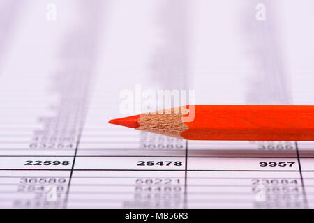financial business data and calcualtion with red pencil - Stock Photo
