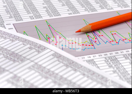 pencil laying on financial business chart - Stock Photo