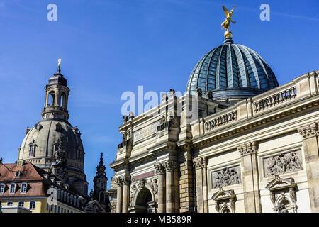 The Royal Academy of Fine Arts, Frauenkirche, Dresden, Saxony, Germany - Stock Photo