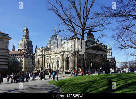 Tourists in front of the Royal Academy of Fine Arts, Frauenkirche, from Dresden Bruehl's Terrace, Dresden, Saxony, Germany - Stock Photo