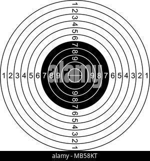 Classic shooting target illustration isolated on white - Stock Photo