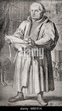 Martin Luther, 1483 - 1546.  German professor of theology, composer, priest, monk, and a seminal figure in the Protestant Reformation.  From The International Library of Famous Literature, published c. 1900 - Stock Photo