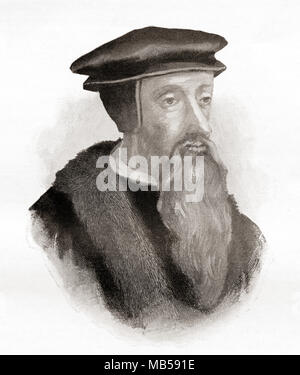 John Calvin, born Jehan Cauvin,1509 – 1564.  French theologian, pastor and reformer during the Protestant Reformation. From The International Library of Famous Literature, published c. 1900 - Stock Photo