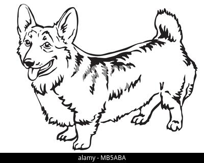 Decorative portrait of standing in profile Pembroke Welsh Corgi, vector isolated illustration in black color on white background - Stock Photo