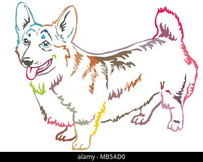 Colorful contour decorative portrait of standing in profile Pembroke Welsh Corgi, vector isolated illustration on white background - Stock Photo