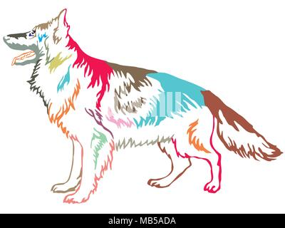 Colorful contour decorative portrait of standing in profile longhaired German Shepherd , vector isolated illustration on white background - Stock Photo