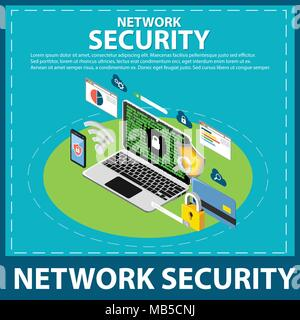 internet and network security isometric icons - Stock Photo