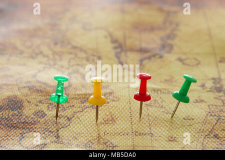 Image of pins attached to map, showing location or travel destination. selective focus - Stock Photo