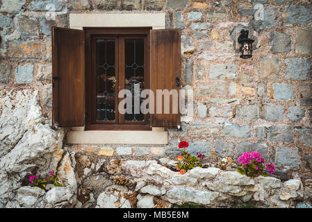 Wooden Shuttered Window in Petrovac - Stock Photo