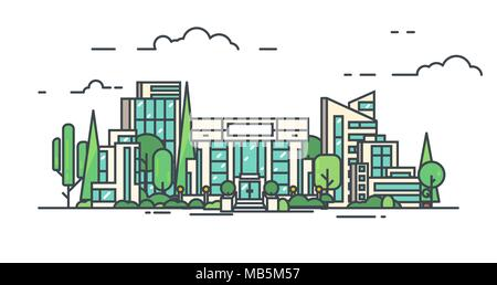 City with buildings, skyscrapers and trees from park. Bank or big building in city center. Flat style line vector illustration. Business city center w - Stock Photo
