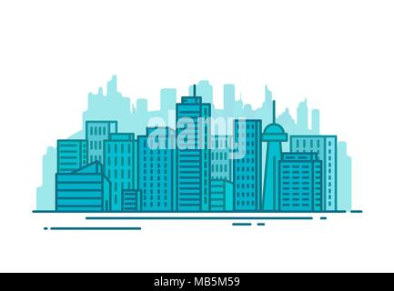 City with buildings and skyscrapers on background. Flat style line vector illustration. Business city center with modern houses. Business center of to - Stock Photo